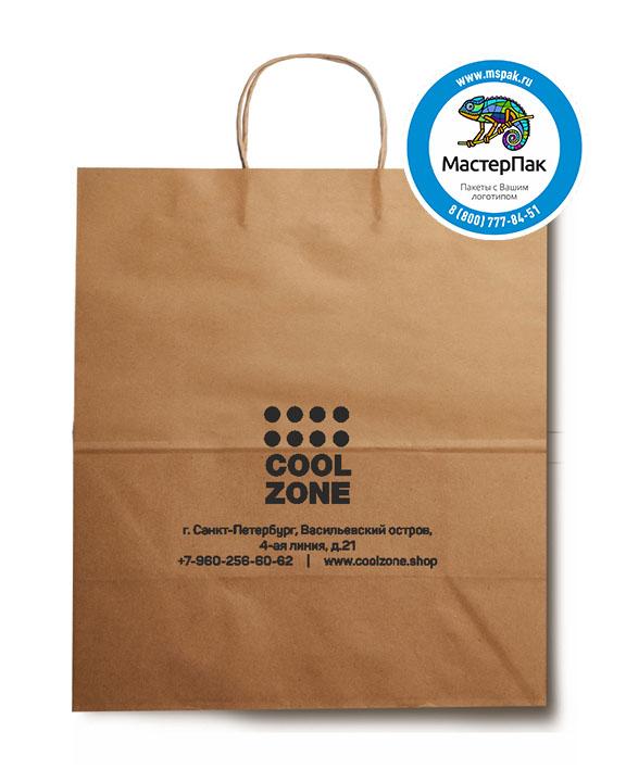 Пакет крафтовый, 22*12*25, 70 гр., крученые ручки с логотипом Cool Zone
