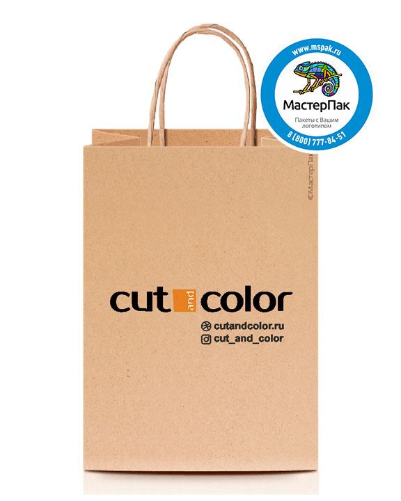 Пакет крафтовый, 18*8*25, 120 гр., крученые ручки с логотипом Cut Color