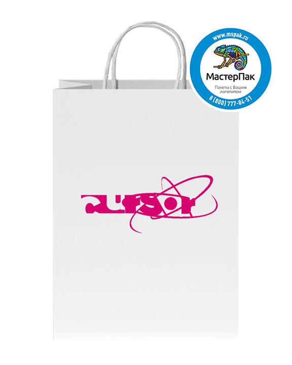 Пакет крафтовый, 35х26х15, 100 гр., крученые ручки, с логотипом Cursor-is
