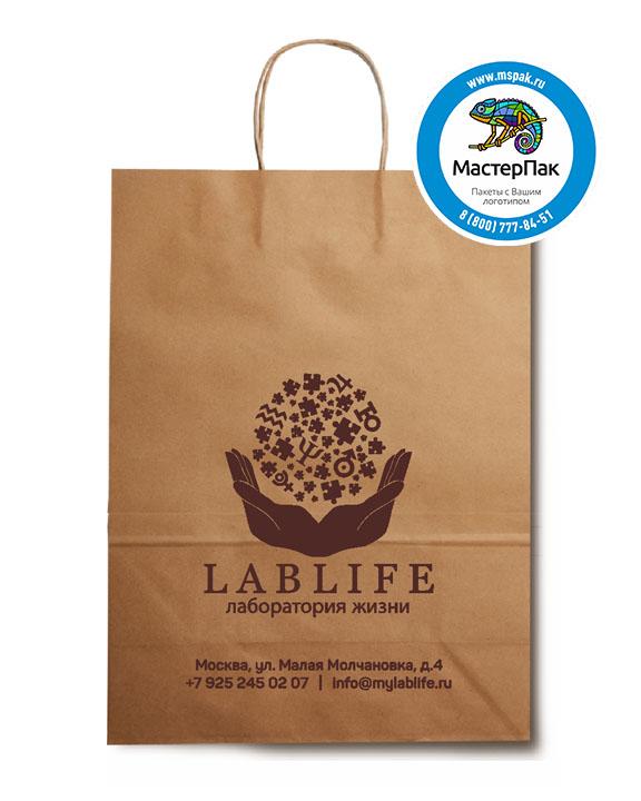 Пакет крафтовый, 24*11*32, 78 гр., крученые ручки, с логотипом LABLIFE