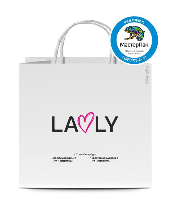 Пакет крафтовый, 48*12*45, 80 гр., крученые ручки, с логотипом Lavly