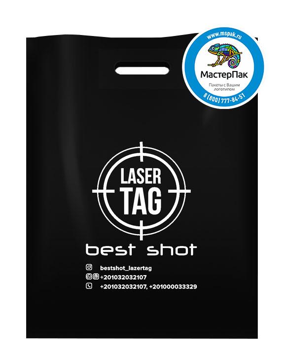 ПВД пакет, 30*40, толщина 70 мкм, с вырубной ручкой и логотипом Laser Tag