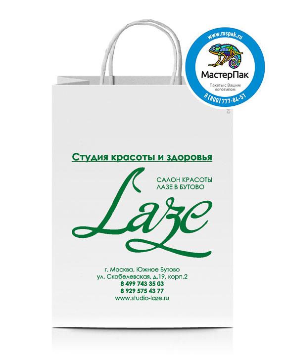 Пакет крафтовый, 45*15*35, 100 гр., крученые ручки, с логотипом LAЗЕ
