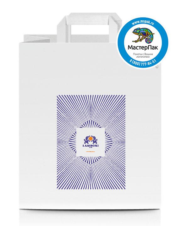 Пакет крафтовый, 28*24*14, 100 гр., плоские ручки, с логотипом LAMBONY