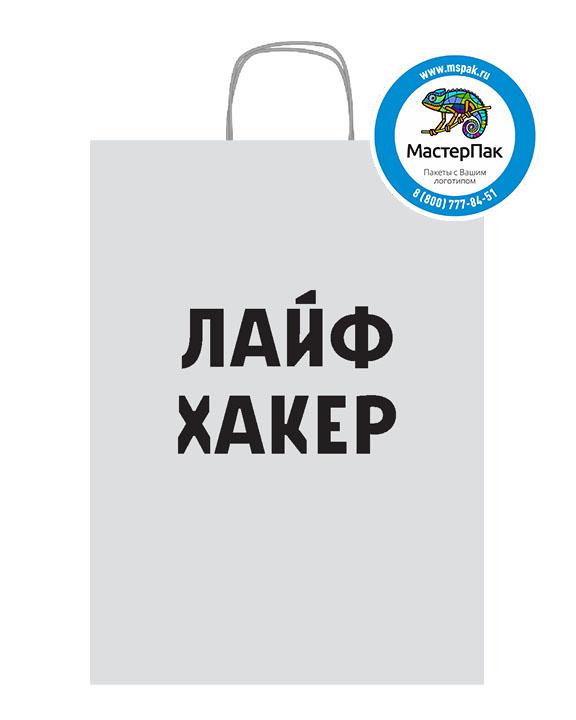 Пакет крафтовый, 29*16*40, 80 гр., крученые ручки, с логотипом Лайф Хакер