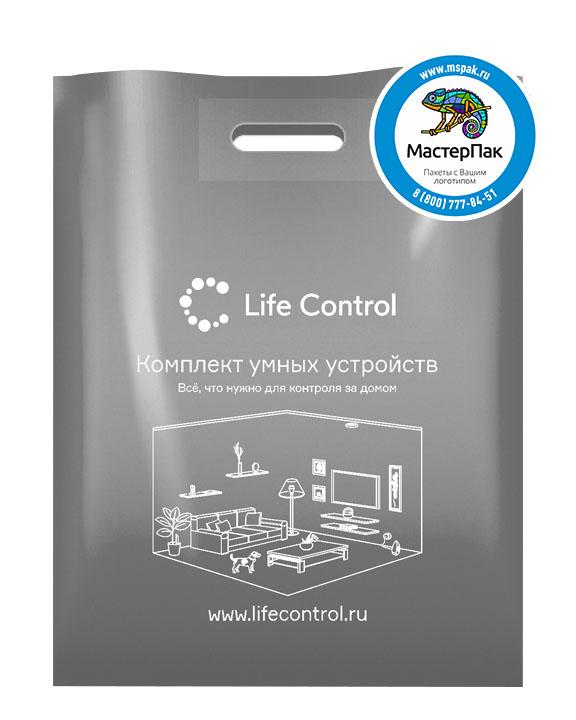 ПВД пакет, 38*50, толщина 70 мкм, с вырубной ручкой и логотипом Life Control