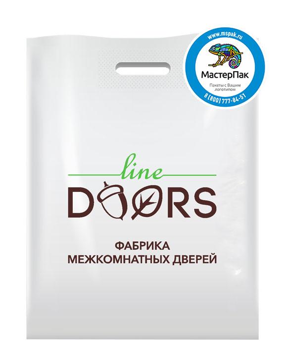 ПВД пакет, 38*50, толщина 70 мкм, с вырубной ручкой и логотипом Line Doors