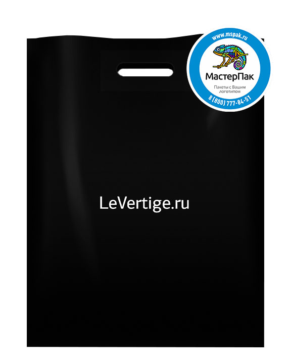 ПВД пакет, 22*34, толщина 70 мкм, с вырубной ручкой и логотипом LeVertige