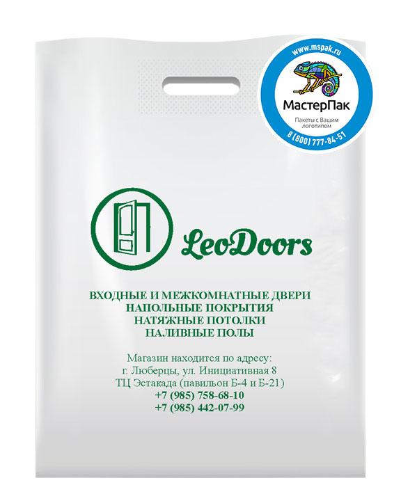 ПВД пакет, 30*40, толщина 70 мкм, с вырубной ручкой и логотипом LeoDoors