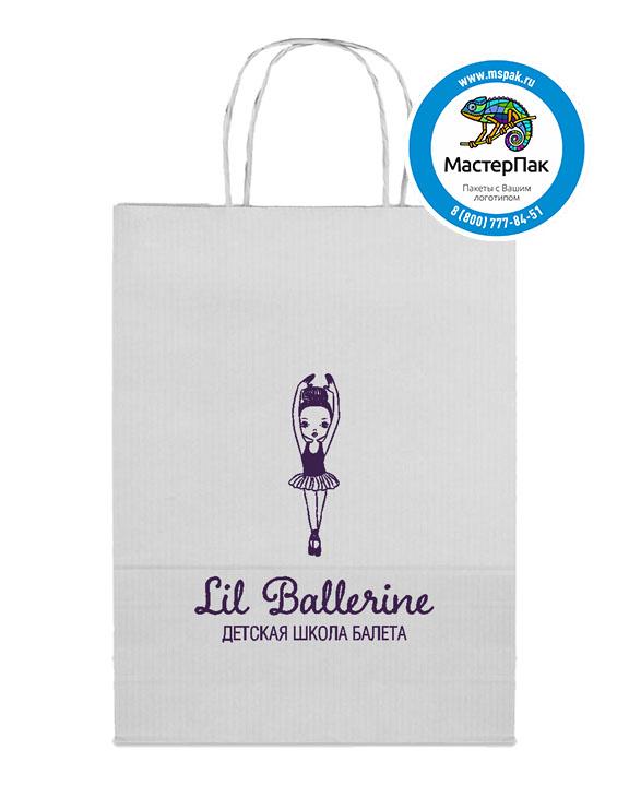 Пакет крафтовый, 45*15*35, 100 гр., крученые ручки, с логотипом Lil Ballerine