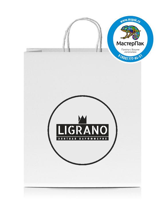 Пакет крафтовый, 22*12*25, 100 гр., крученые ручки, с логотипом Ligrano