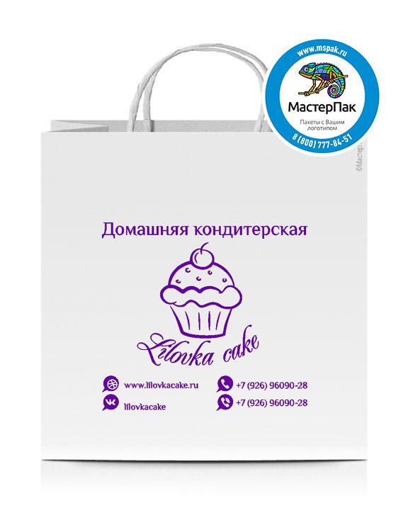 Пакет крафтовый, 32*32*20, 100 гр., крученые ручки, с логотипом Lilovka Cake