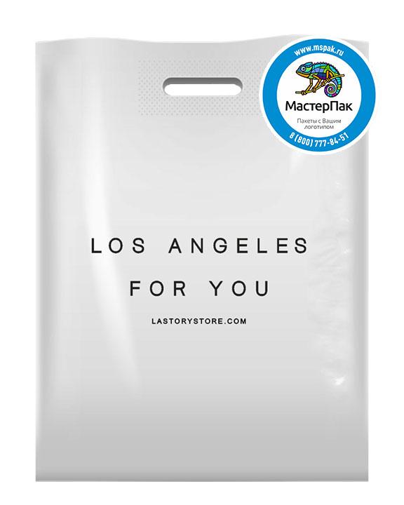 ПВД пакет, 38*50, толщина 70 мкм, с вырубной ручкой и логотипом Los Angeles For You