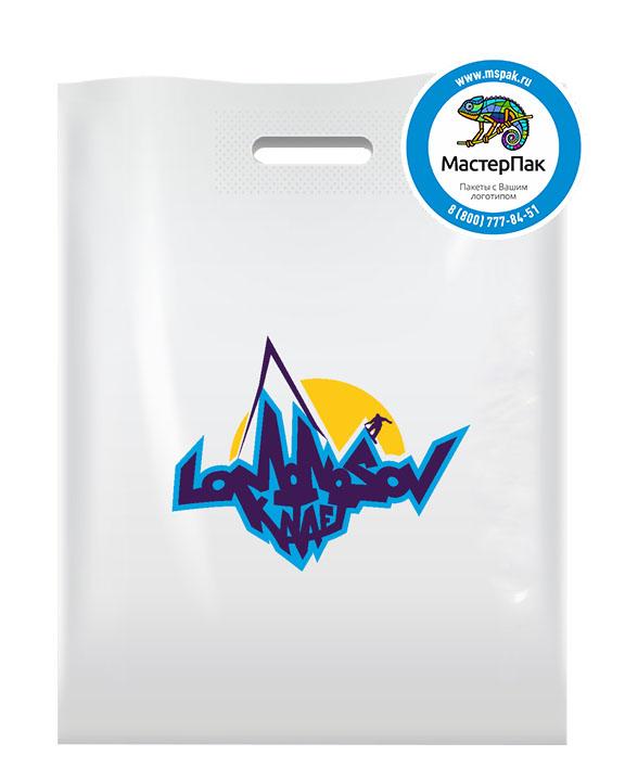 ПВД пакет, 38*50, толщина 70 мкм, с вырубной ручкой и логотипом Lomonosov Kataet