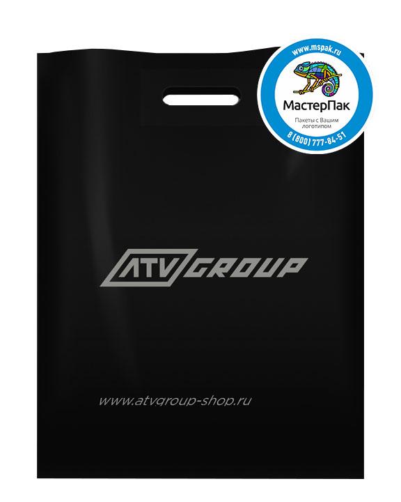 ПВД пакет, 30*40, толщина 70 мкм, с вырубной ручкой и логотипом ATV Group