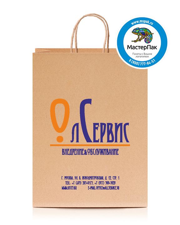 Пакет крафтовый, 26*14*35, 78 гр., крученые ручки, с логотипом ЛСервис