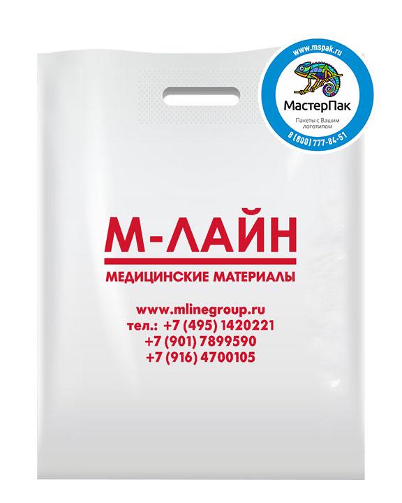 ПВД пакет, 38*50, толщина 70 мкм, с вырубной ручкой и логотипом М-Лайн