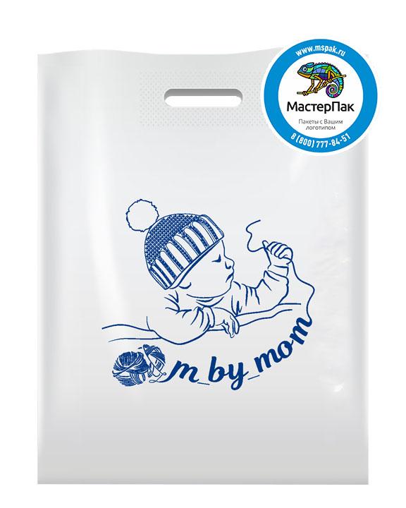 ПВД пакет, 30*40, толщина 70 мкм, с вырубной ручкой и логотипом M by mom