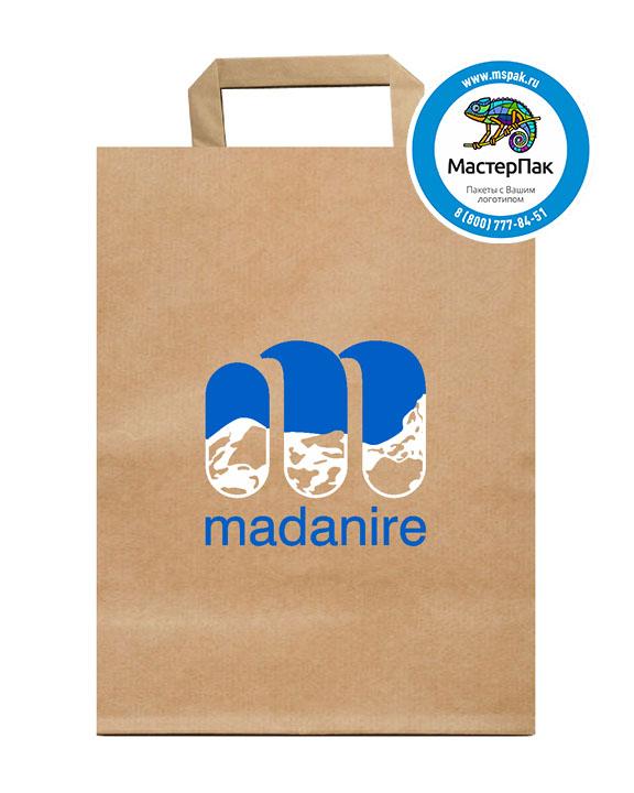 Пакет крафтовый, 43*32*17, 78 гр., плоские ручки, с логотипом Madanire