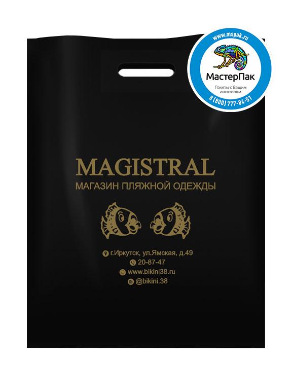 ПВД пакет, 30*40, толщина 70 мкм, с вырубной ручкой и логотипом Magistral