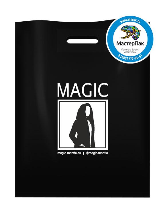 ПВД пакет, 38*50, толщина 70 мкм, с вырубной ручкой и логотипом Magic