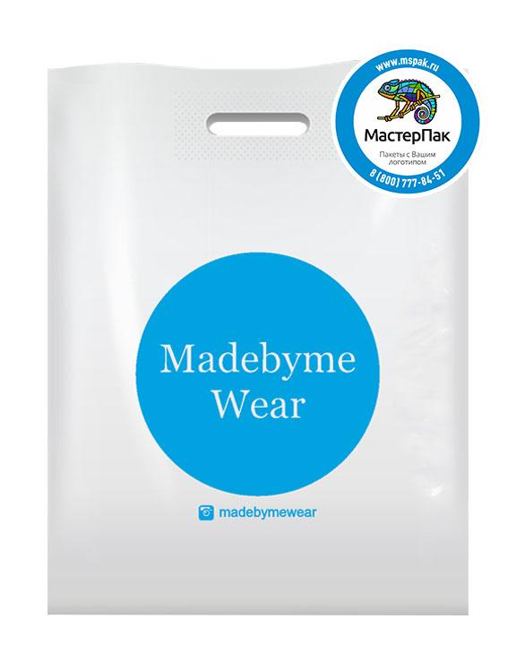 ПВД пакет, 36*45, толщина 70 мкм, с вырубной ручкой и логотипом Madebyme Wear