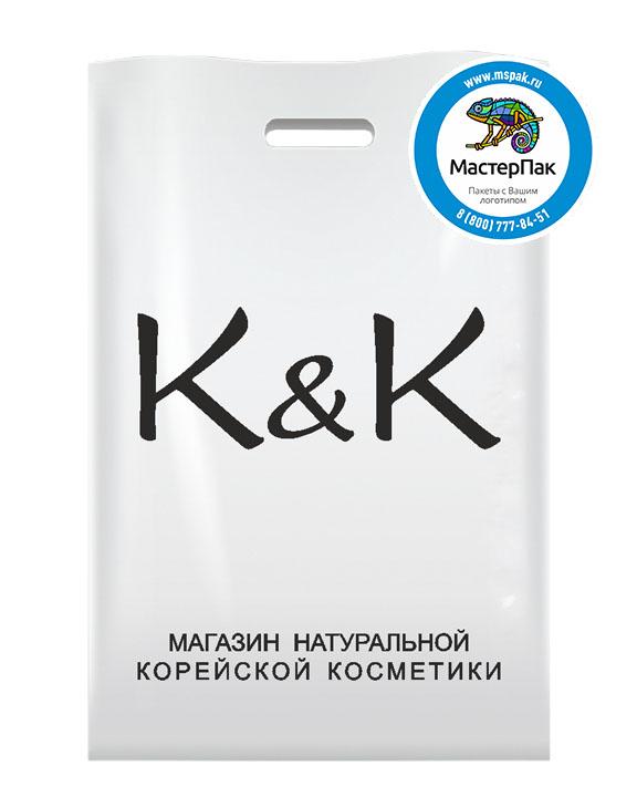 ПВД пакет, 22,5*34, толщина 70 мкм, с вырубной ручкой и логотипом K&K