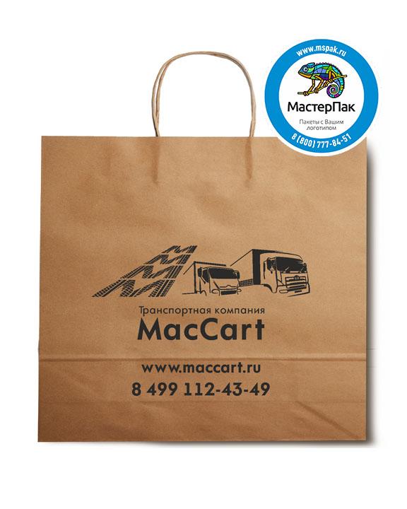 Пакет крафтовый, 48*12*45, 90 гр., крученые ручки, с логотипом MacCart
