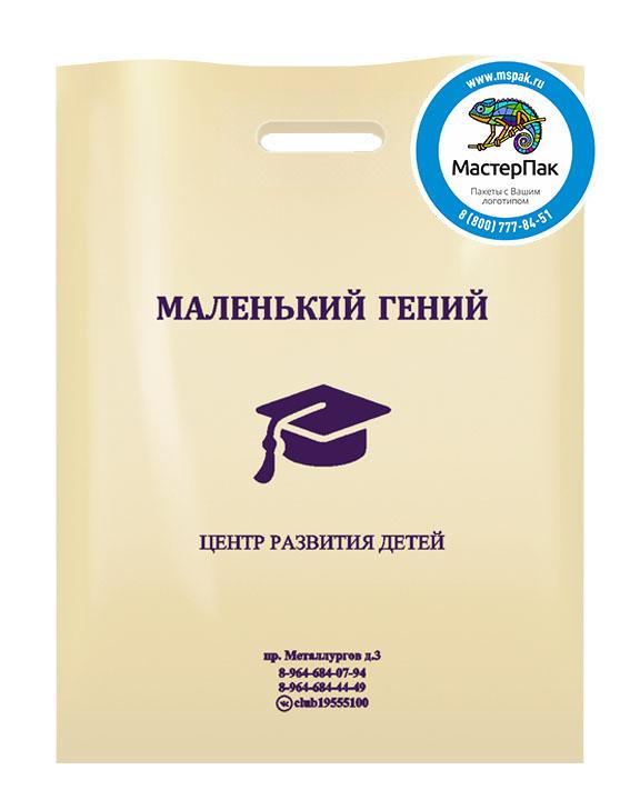 ПВД пакет, 30*40, толщина 70 мкм, с вырубной ручкой и логотипом Маленький гений