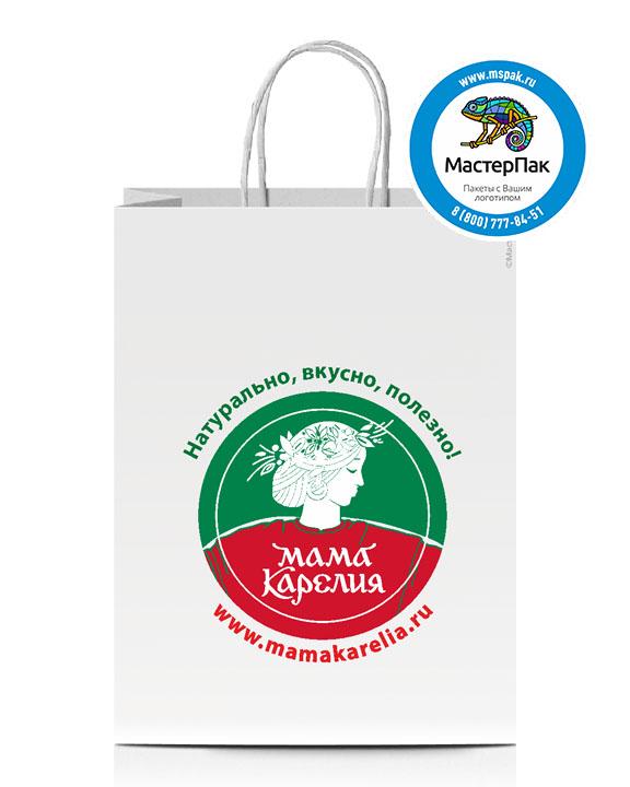 Пакет крафтовый, 26*14*35, 80 гр., крученые ручки, с логотипом Мама Карелия