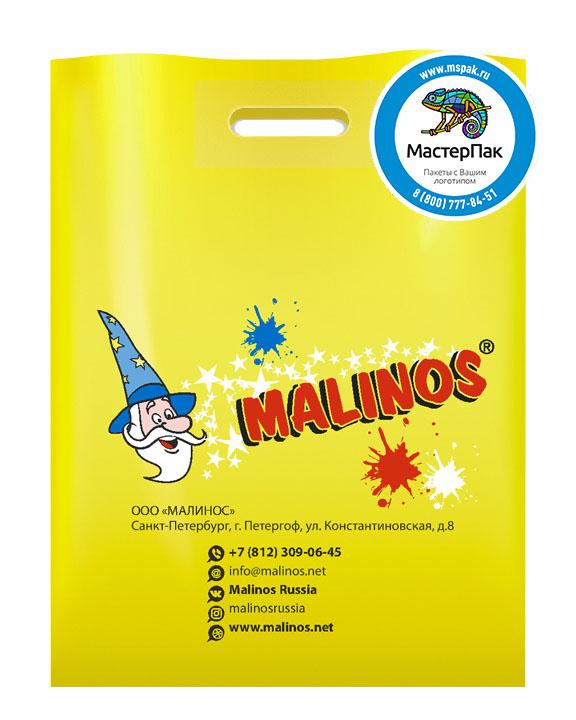 ПВД пакет, 30*40, толщина 70 мкм, с вырубной ручкой и логотипом MALINOS