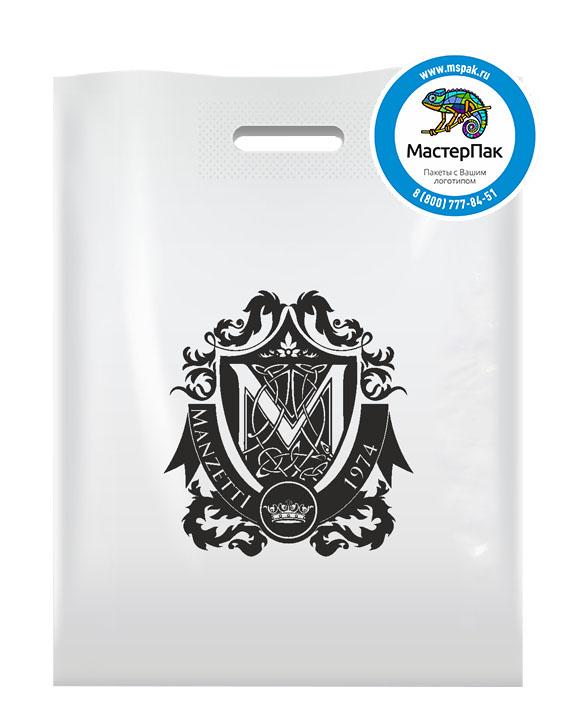 ПВД пакет, 38*50, толщина 70 мкм, с вырубной ручкой и логотипом Manzetti
