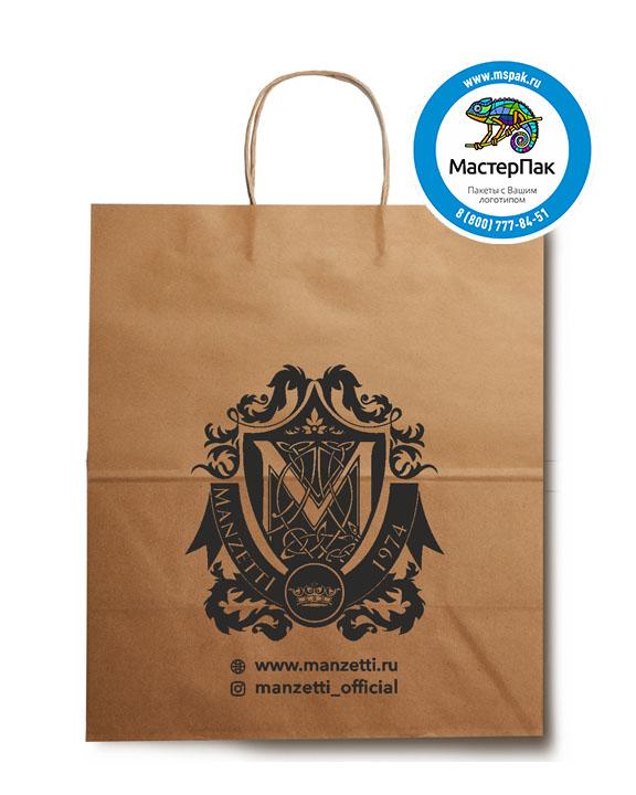 Пакет крафтовый, 32*18*37, 80 гр., крученые ручки, с логотипом Manzetti
