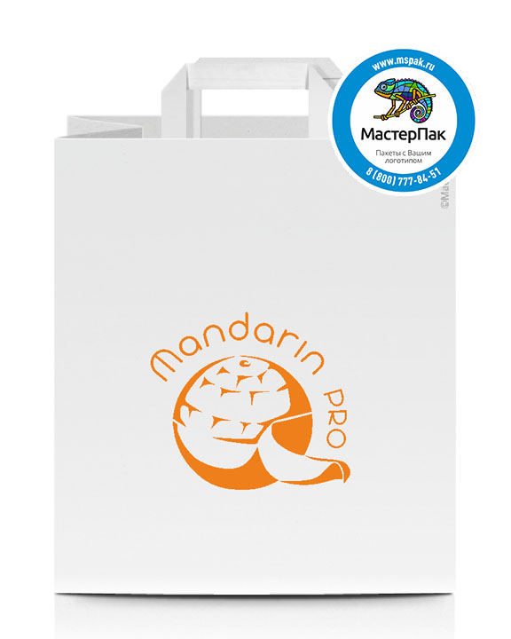 Пакет крафтовый, 28*24*14, 100 гр., плоские ручки, с логотипом Mandarin Pro