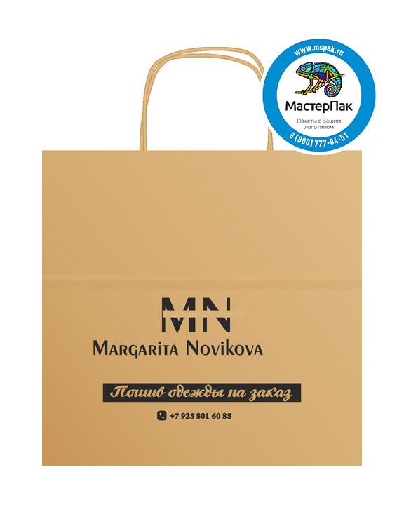 Пакет крафтовый, 35*20*34,5, 90 гр., крученые ручки, с логотипом Margarita Novikova