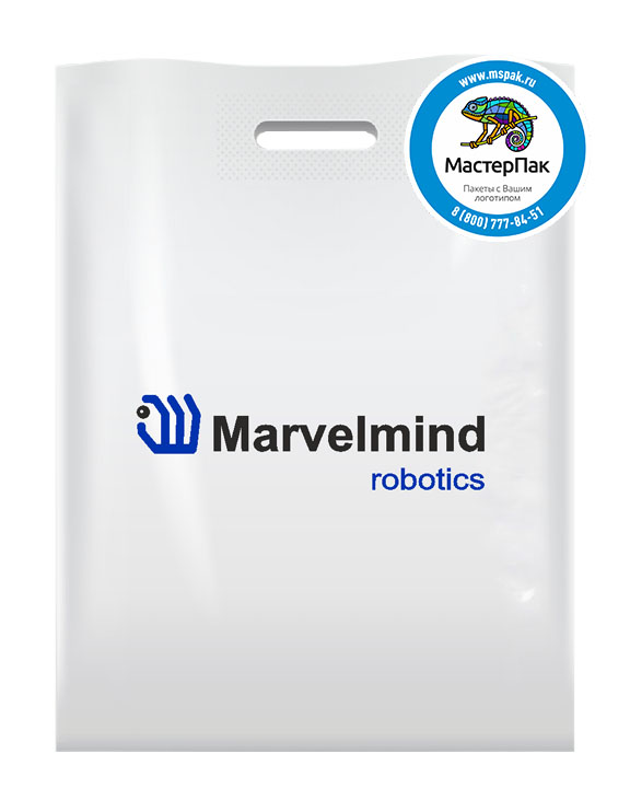 ПВД пакет, 30*40, толщина 70 мкм, с вырубной ручкой и логотипом Marvelmind