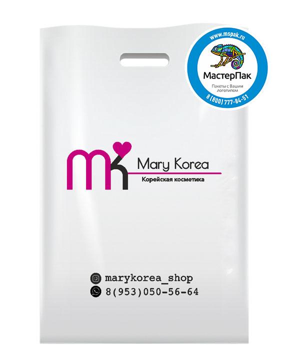 ПВД пакет,  22,5*34, толщина 70 мкм, с вырубной ручкой и логотипом Mary Korea