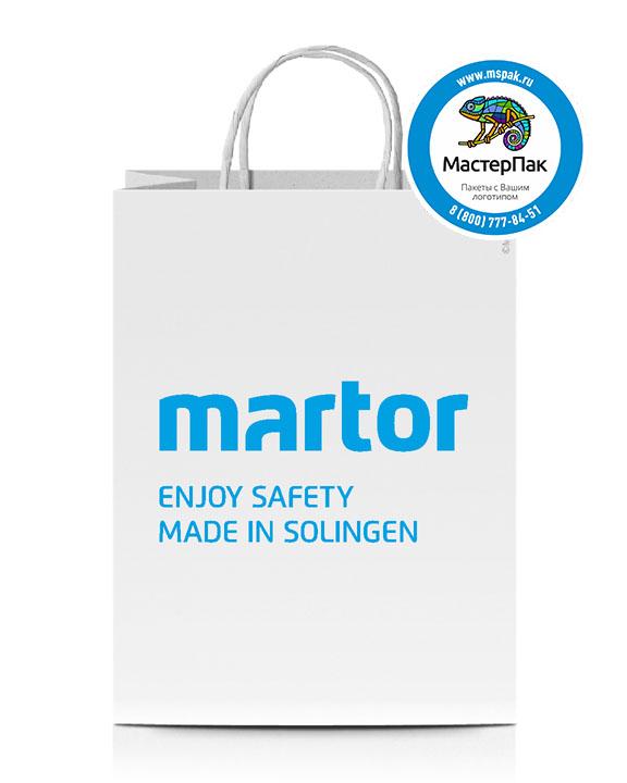 Пакет крафтовый, 35*26*15, 80 гр., крученые ручки, с логотипом MARTOR