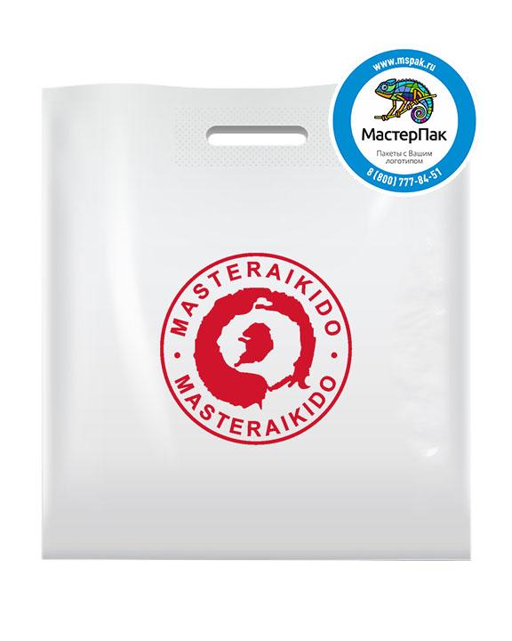 ПВД пакет, 45*50, толщина 70 мкм, с вырубной ручкой и логотипом MASTERAIKIDO