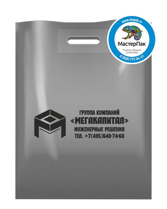 ПВД пакет, 38*50, толщина 70 мкм, с вырубной ручкой и логотипом МЕГАКАПИТАЛ
