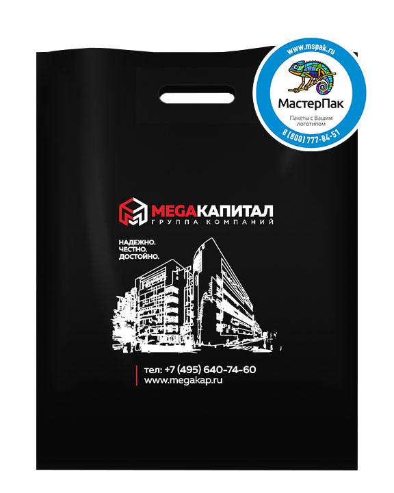 ПВД пакет, 38*50, толщина 70 мкм, с вырубной ручкой и логотипом MEGAКапитал