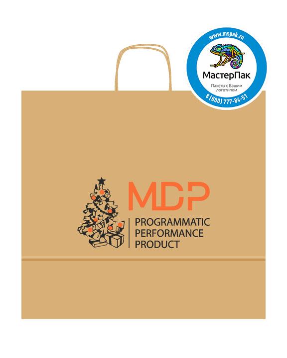 Пакет крафтовый, 48*12*45, 90 гр., крученые ручки, с логотипом MDP