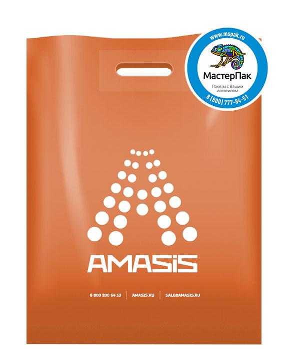 ПВД пакет, 30*40, толщина 70 мкм, с вырубной ручкой и логотипом AMASIS