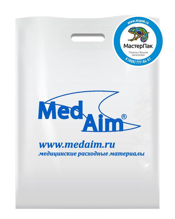 ПВД пакет, 30*40, толщина 70 мкм, с вырубной ручкой и логотипом Med Aim