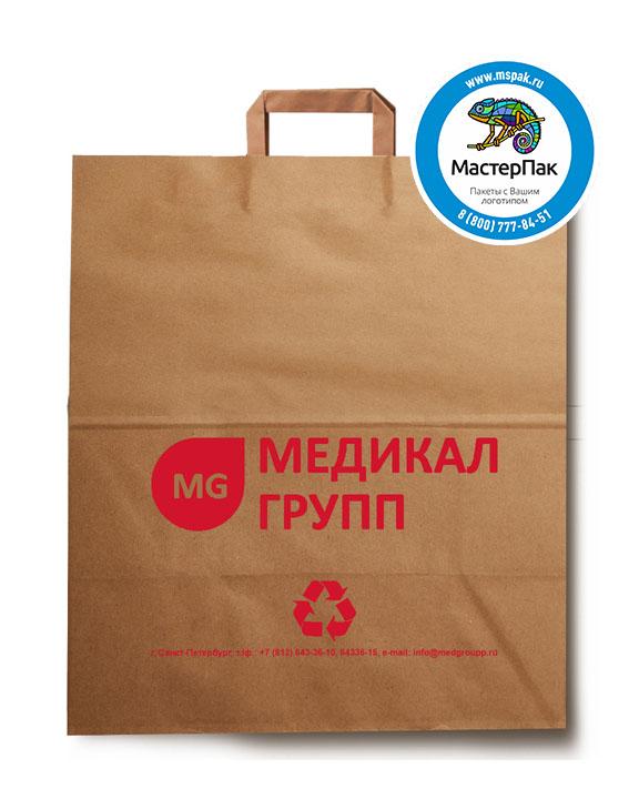 Пакет крафтовый, 32*20*37, 80 гр., плоские ручки, с логотипом Медикал Групп