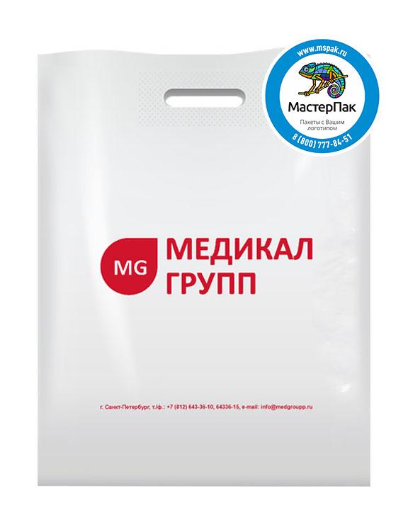 ПВД пакет, 38*50, толщина 70 мкм, с вырубной ручкой и логотипом Медикал Групп
