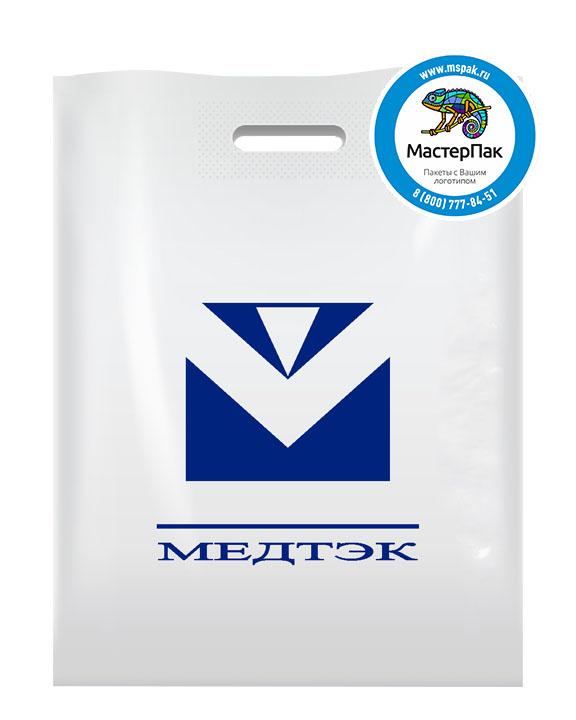 ПВД пакет, 38*50, толщина 70 мкм, с вырубной ручкой и логотипом МЕДТЭК
