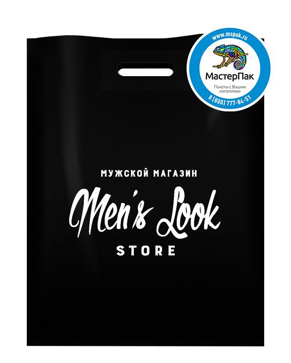 ПВД пакет, 38*50, толщина 70 мкм, с вырубной ручкой и логотипом Men`s Look