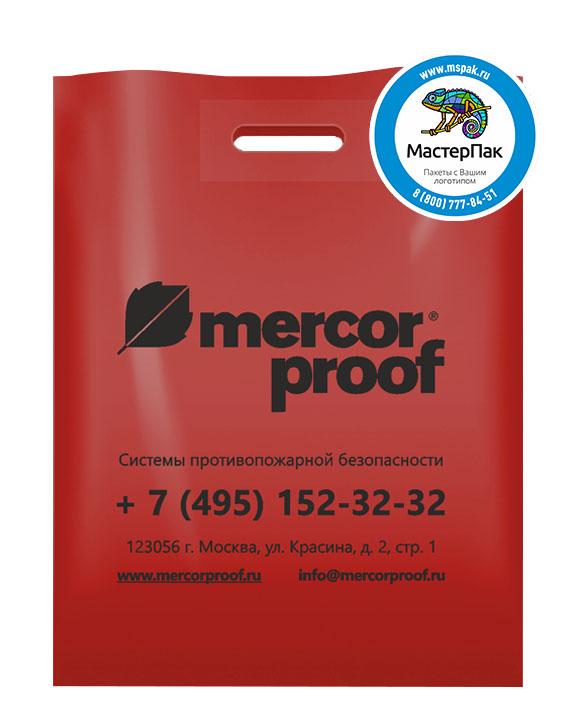 ПВД пакет, 38*50, толщина 70 мкм, с вырубной ручкой и логотипом Mercor Proof