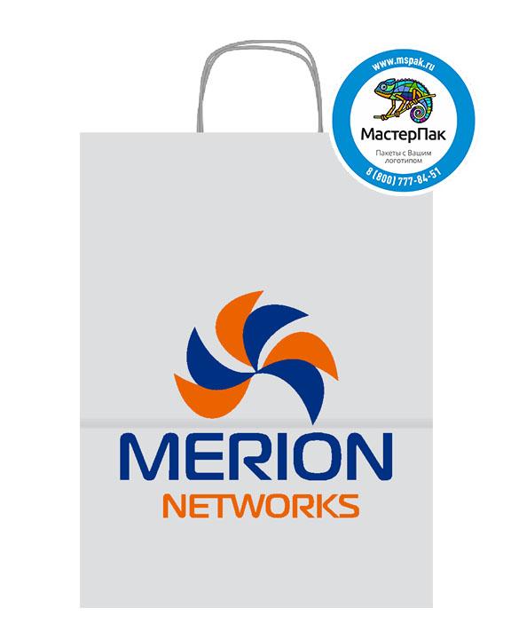 Пакет крафтовый, 45*15*35, 100 гр., крученые ручки, с логотипом Merion Networks